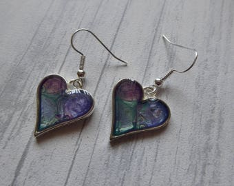 Hand Painted Resin Heart Earrings, Purple and Green, Dangle Earrings, Silver Plated