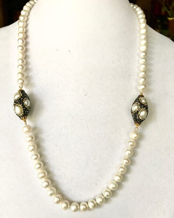 """Pearl Necklace, Freshwater Pearl Necklace, Pave Crystal , Freshwater Pearl beads, Lobster Clasp, 27"""" Long,"""