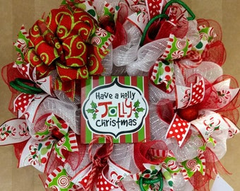 Christmas Wreath, Deco Mesh Wreath