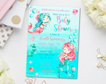 Mermaid Baby Shower Invitation, Under the Sea Baby Shower Invite, Little Mermaid Girl Baby Shower, Ocean Mermaid Baby Sprinkle or Twins