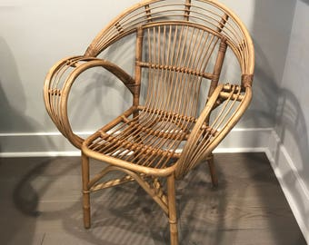 Vintage Rattan Arm Chair, Bohemian Living Room Chair, Boho Furniture, Rattan  Lounge Chair
