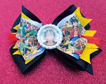 One Piece Monkey D. Luffy Straw Hat Pirate Anime Manga Cosplay Hair Bow