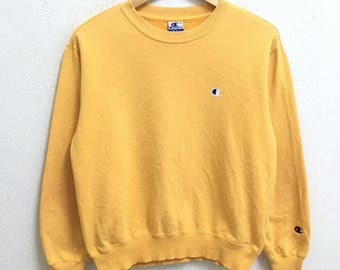 RARE!!! Champion Small Logo Embroidery Crew Neck Yellow Colour Sweatshirts Hip Hop Swag S Size