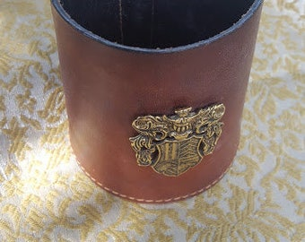 Leather mug ,with crest, made in England
