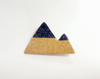 "Brooch ""the 2 blue mountains"""