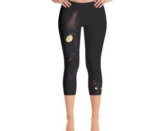 Cat Capri Leggings, Black Cat Women's Leggings, Workout, Fitness, Gym Pants, Cat Lover Gift, Crazy Cat Lazy, Gift for Her, Cool Cat Stuff