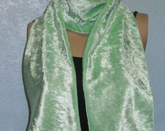 Mint Green Crushed Velvet Scarf 15 cm x150 cm Women's / Ladies Lovely Soft And Warm Great Accessory Gift