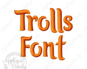 "Trolls Embroidery Font - Letters & Numbers - 3 Size - 1"" 2"" 3"" Machine Embroidery Font INSTANT DOWNLOAD"