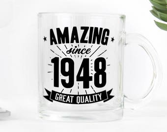 Birthday clear glass mug, great present for 70th birthday