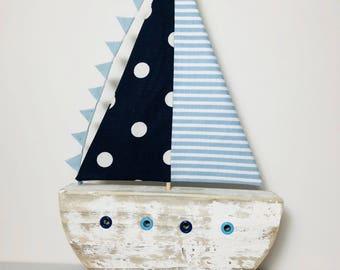 Quaint Driftwood Sail Boat