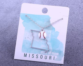 Customizable! State of Mine: Missouri Baseball Enamel Necklace - Great Baseball Gift!