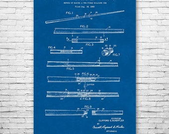 Two Piece Pool Cue Poster Patent Art Print Gift, Billiards Poster, Billiards Art, Billiards Cue, Pool Stick, Billiards Stick, Cue Stick