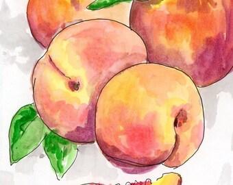 Peaches Watercolor  8x10, 11x14, Archival Print, Print, Watercolour, Kitchen Art, Fruit