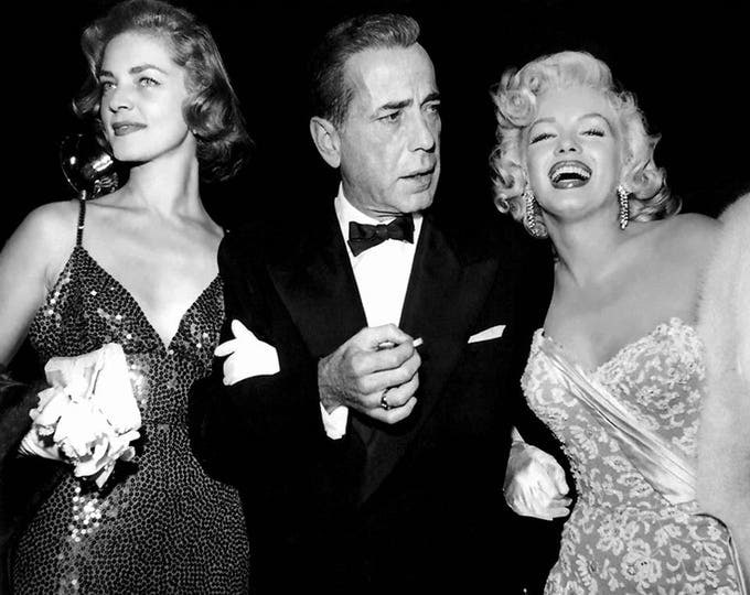 """Lauren Bacall, Humphrey Bogart and Marilyn Monroe Attend the Premier of """"How to Marry a Millionaire"""" - 5X7 or 8X10 Publicity Photo (AA-909)"""