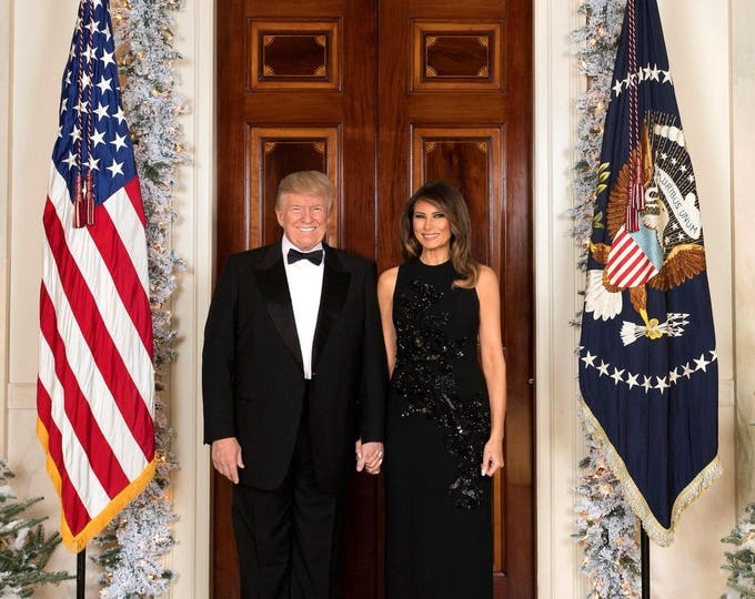 President Donald Trump and First Lady Melania Trump 2017 Christmas Portrait - 5X7, 8X10 or 11X14 Photo (OP-997)