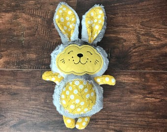Yellow Stuffed Bunny, Stuffed Bunny Rabbit, Yellow Easter Bunny, Easter Gift, Stuffed Animal, Bunny Rabbit, Stuffed Rabbit, Gray Bunny