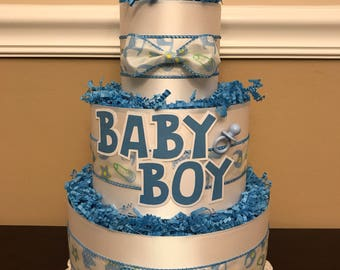 Diaper Cake Blue & White Baby Boy Pampers Baby Shower Centerpiece