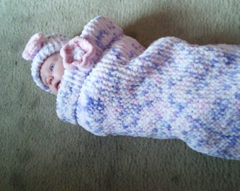 0-3 months Lovely hand knitted baby girls sleeping bag cocoon Papoose and hat set Baby shower gift new baby gift