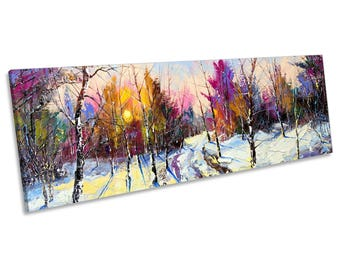 Abstract Winter Forest Panoramic CANVAS WALL ART Framed Print
