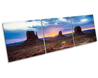 Monument Valley Sunset CANVAS WALL ART Three Panel Box Frame Print