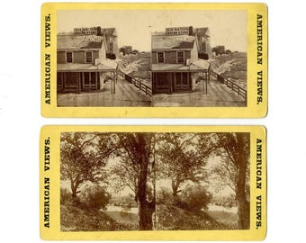 Lot of 2 Stereoview Cards, Native American SIX NATIONS INDIAN Store, Niagara Falls and River Bank Scene