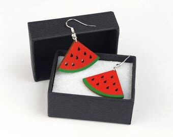 Watermelon earring - wood & silver 925 - Summer TFashion