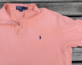 Vintage 90's Polo by Ralph Lauren Pink Peach golf shirt XXL