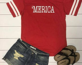 Merica red and white top with stripe sleeve