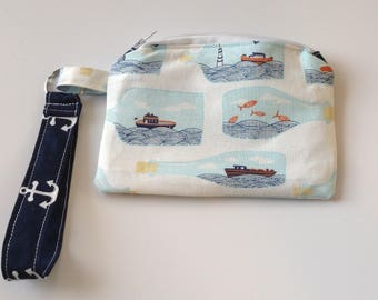 Wristlet keychain Custom makeup bag custom bag cosmetic bag coin pouch - navy anchors ship in a bottle zippered pouch