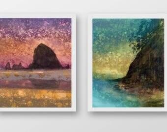 SET of TWO Oregon Coast prints, limited edition, fine art prints, Cannon Beach, Haystack Rock