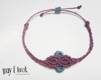 Purple Macrame bracelet with blue accent