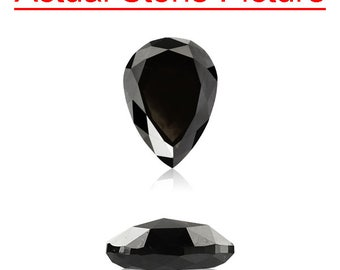 1.35 Cts of 8.40x6.02x3.14 mm GIA Certified AAA Pear Modified Brilliant ( 1 pc ) Loose Un-Treated Fancy Black Diamond