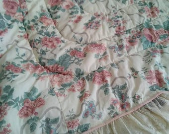 Elizabeth Gray Victoria Croscill DAYBED Comforter Pillow Shams Bed Ruffle Shabby Chic Bedding Vintage Bedding 5 piece set