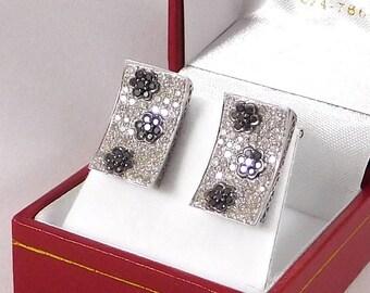 Black & White Diamond Earrings. 14k White Gold