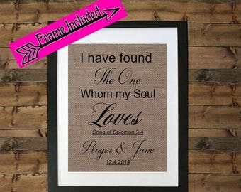 ON SALE Wedding Gift for Couple I have found my soulmate Burlap Print Soulmate Frame Soulmate Gift Gift for Husband Gift for Wife Burlap Fra