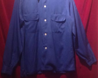 1950s Gaberdine Shirt / Navy Blue loop collar gaberdine shirt / label - AMC