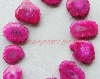 38% OFF 11 Pieces Strand, Beautiful Hot Pink Stalactite Slices, Pink Stalactite One Side Smooth Slice Briolettes, 16-30 MM Size, Loose Beads