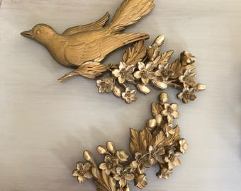 Dart Gold Bird and Floral Spray 1960s Wall Art Plaques Set