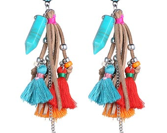 Tassel handmade stone earrings