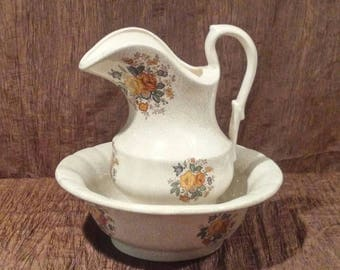 Vintage Bowl and Pitcher set, free shipping