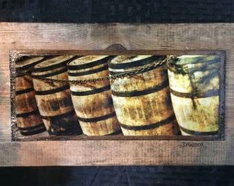 Bourbon Barrels on Wood Wall Art