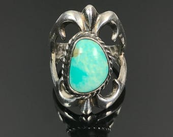 Sand Cast Turquoise Sterling Ring