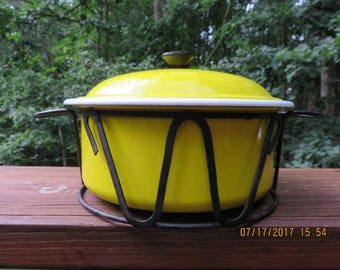 Vintage French Yellow Casserole Dish with Cast Iron Stand