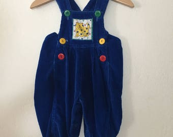 Vintage 1980's Blue Kitty Cat Overalls Size 3-6 Months