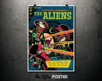 Captain Johner and The Aliens - Gold Key - Sept 1967 - Comic Poster, Comic Cover Art, Comic Book, Geek Decor, Sci Fi Poster, Boys Room Decor