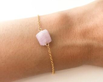 Tiny Kunzite Bracelet Kunzite Bracelet Pink Bracelet layering Pink Kunzite Bracelet Gift For Her