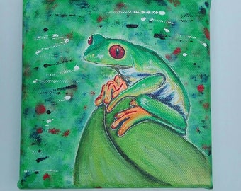 Frog of 15x15cm 2 canvas hand painted