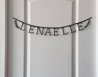 Letter name banner made by hand in different colors
