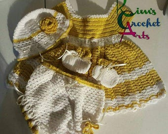 Costume Crochet 0 to 3 months (yellow/gold/white)