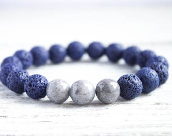 Mens Beaded Bracelet Man Lava Rock Bracelet Gray Bracelet Boyfriend Bracelet Distance Bracelet Men Blue Bead Sister Bracelet Girlfriend Gift